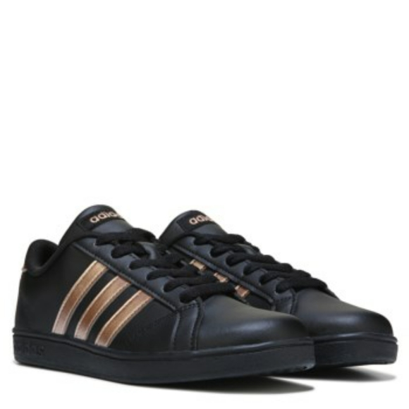 Women's black and rose gold Adidas shoes